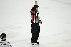Referee Sebastian Lendl during ice hockey match between HK SZ Olimpija and WSV Sterzing Broncos Weihenstephan (ITA) in Round #12 of AHL - Alps Hockey League 2018/19, on October 30, 2018, in Hala Tivoli, Ljubljana, Slovenia. Photo by Vid Ponikvar / Sportida