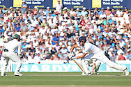 Captain Alastair Cook of England plays safe during the 3rd day of the Investec Ashes Test match between England and Australia at the Oval, London, United Kingdom on 22 August 2015. Photo by Phil Duncan.