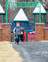 PROSPECT, CT- 13 MARCH 07- 031307JT01- .Brendan Healy, 3, of Waterbury, runs down the path coming from the playground at Hotchkiss Park in Prospect on Tuesday..Josalee Thrift Republican-American