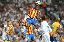 August 27, 2017 - Madrid, Spain - Kondogbia clears the ball. LaLiga Santander matchday 2 between Real Madrid and Valencia. The final score was 2-2, Marco Asensio scored twice for Real Madrid. Carlos Soler and Kondogbia did it for Valencia. Santiago Bernabeu Stadium, august 27, 2017. Photo by  (Credit Image: © |Antonio Pozo |  Media Expre/VW Pics via ZUMA Wire)