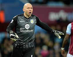 Brad Guzan of Aston Villa - Mandatory byline: Alex James/JMP - 01/03/2016 - FOOTBALL - Villa Park - Birmingham, England - Aston Villa v Everton - Barclays Premier League