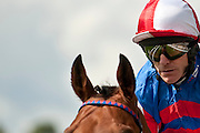 Kierren Fallon gallops to the start for a race at York during the Ebor festival.