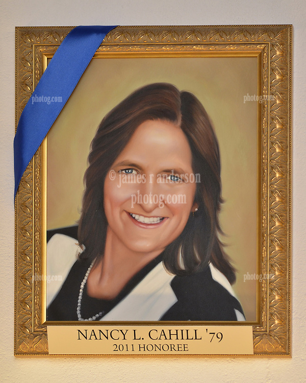 Blue Leadership Ball 2011, Yale University Athletics. Award Honoree Nancy L. Cahill '79 Portrait hanging in the Kiphuth Trophy Room, Payne Whitney Gymnasium.