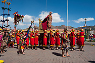 """Inti Raymi. Act two. Plaza Mayor. The actor Nivardo Carrillo, for many years played """"El Inca"""", the central figure of Inti Raymi. Here in procession in front of the modern autorities"""