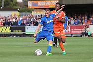 AFC Wimbledon midfielder Dean Parrett (18) shaping to shoot during the EFL Sky Bet League 1 match between AFC Wimbledon and Shrewsbury Town at the Cherry Red Records Stadium, Kingston, England on 12 August 2017. Photo by Matthew Redman.