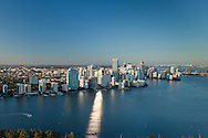 Aerial view of downtown Miami and the Brickell area in the afternoon.