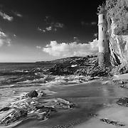 Victoria Beach Spire Stairwell Crashing Surf - Sunset - Infrared Black & White
