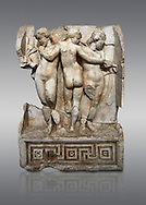 Roman Sebasteion relief  sculpture of the Three Graces, Aphrodisias Museum, Aphrodisias, Turkey. <br /> <br /> The Three Graces stand in their familiar hellenistic composition. They were handmaids of Aphrodite and appeared in this form on the decoration of her cult statue at Aphrodisias. Their names evoked their character: Euphrosyne (joy), Aglaia (Splendour) and Thaleia (Bloom). .<br /> <br /> If you prefer to buy from our ALAMY STOCK LIBRARY page at https://www.alamy.com/portfolio/paul-williams-funkystock/greco-roman-sculptures.html . Type -    Aphrodisias     - into LOWER SEARCH WITHIN GALLERY box - Refine search by adding a subject, place, background colour, museum etc.<br /> <br /> Visit our ROMAN WORLD PHOTO COLLECTIONS for more photos to download or buy as wall art prints https://funkystock.photoshelter.com/gallery-collection/The-Romans-Art-Artefacts-Antiquities-Historic-Sites-Pictures-Images/C0000r2uLJJo9_s0