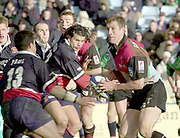Twickenham. Surrey, UK., 23 February 2002, Zurich Premiership Rugby,  The Stoop Memorial Ground,   Will GREENWOOD, looks for the gap in the Gloucester defence, during the, NEC Harlequins vs Gloucester Rugby,<br /> [Mandatory Credit: Peter Spurrier/Intersport Images],