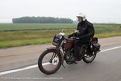 Victor Boocock turned 76 while riding his 1914 Harley-Davidson 10e on his 5th cross-country trip on the Motorcycle Cannonball coast to coast vintage run. Stage 5 (229 miles) from Bowling Green, OH to Bourbonnais, IL. Wednesday September 12, 2018. Photography ©2018 Michael Lichter.