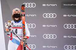 Second placed Michelle Gisin (SUI) celebrates during trophy ceremony after 2nd Run of Ladies' Giant Slalom at 57th Golden Fox event at Audi FIS Ski World Cup 2020/21, on January 17, 2021 in Podkoren, Kranjska Gora, Slovenia. Photo by Vid Ponikvar / Sportida