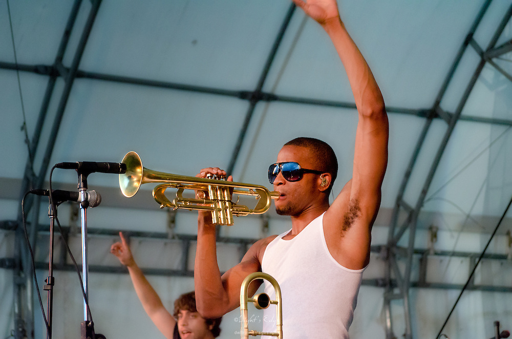 Trombone Shorty working his trumpet on stage at The Appel Farm's 2011 Arts & Music Festival in Elmer, NJ.