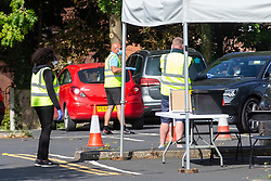 © Licensed to London News Pictures. 17/09/2020. Earlestown, UK. Mobile testing centre in Earlestown today [17/09/2020]. It is believed to be the worst hit area of the St Helens borough, which has a high infection rate. Photo credit: Kerry Elsworth/LNP