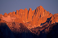 Alpenglow on Mount Whitney at sunrise, near Lone Pine, Eastern Sierra, California