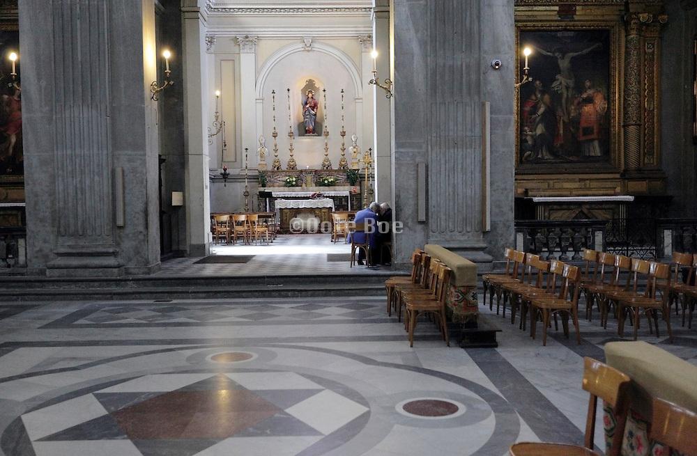 priest taking a confession, Duomo, Città di Castello, Umbria, Italy