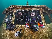 KISS Spirit andJJ rebreather divers inside Silver Comet at Dutch Springs, Scuba Diving Resort in Pennsylvania