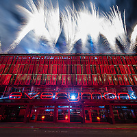 LIVERPOOL, UK, 1st March, 2014. Fireworks signal that the Everyman Theatre in Liverpool is now fully open bring a close to an evening of celebrations.