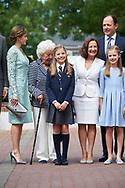 Queen Letizia of Spain, Menchu del Valle, Princess Sofia, Paloma Rocasolano, Crown Princess Leonor arrived Asuncion de Nuestra Senora Church for the First Communion of Princess Sofia on May 17, 2017 in Aravaca near of Madrid.