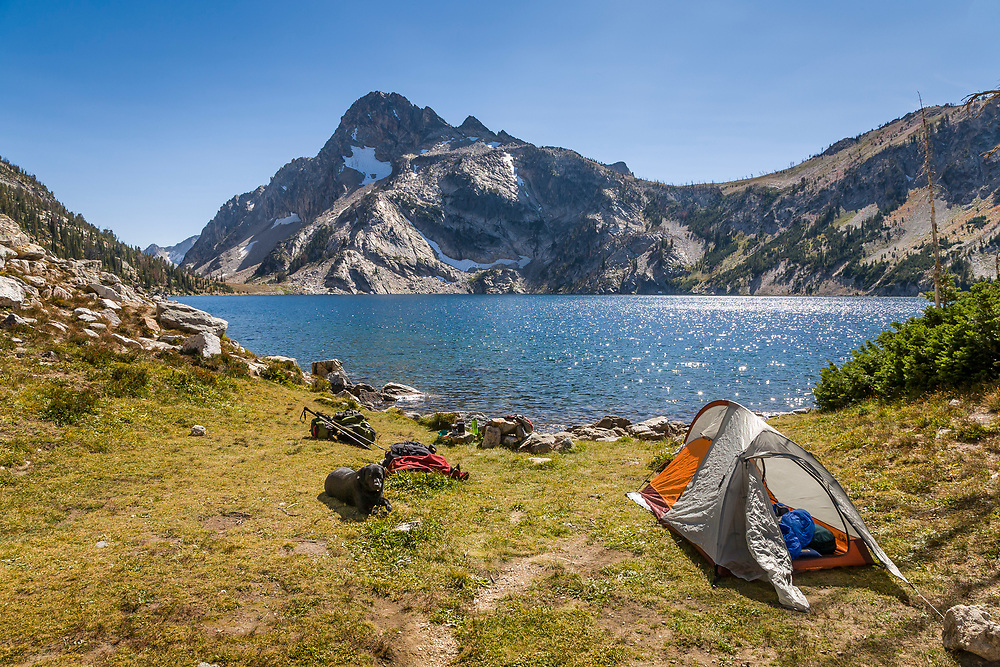 Sawtooth Lake with the perfect camp site with Mt. Regan at 10,190 ft / 3160 meters in the mirror surface of the water. Licensing and Limited Edition Prints.