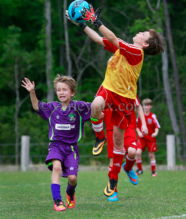 11 April 2015. Hammond, Louisiana.<br /> U9 New Orleans Jesters Elites, team green play CP2-Bobby. Jesters lose 6-1. The Strawberry Cup is hosted by the South Tangipahoa Youth Soccer Association (STYSA).<br /> Photo; Charlie Varley/varleypix.com