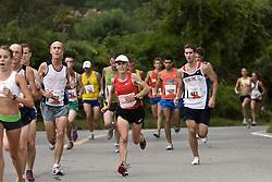 Joan Benoit Samuelson at mile three
