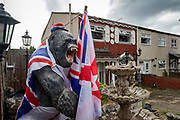 Flags flying ahead of the 'Glorious Twelfth'. The orange March, 12th July, Lower Shankill, Belfast, NI, 2021