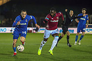 AFC Wimbledon midfielder Dylan Connolly (16) ddribbling during the The FA Cup match between AFC Wimbledon and West Ham United at the Cherry Red Records Stadium, Kingston, England on 26 January 2019.