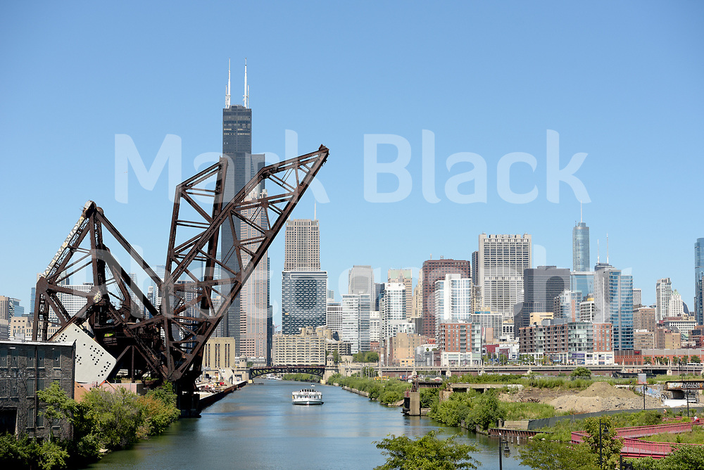 The Chicago River city skyline in Chicago as seen from the China Town neighborhood on Wednesday, Aug. 19, 2020.  Photo by Mark Black
