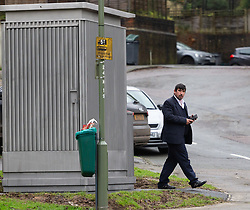 A bus driver is seen outside the toilet. Local residents are both mystified and annoyed about the sudden appearance of a toilet for bus drivers that has been erected on the corner of Melody Road and Whitby Close in Biggin Hill, Kent. Biggin Hill, Kent, December 06 2018.