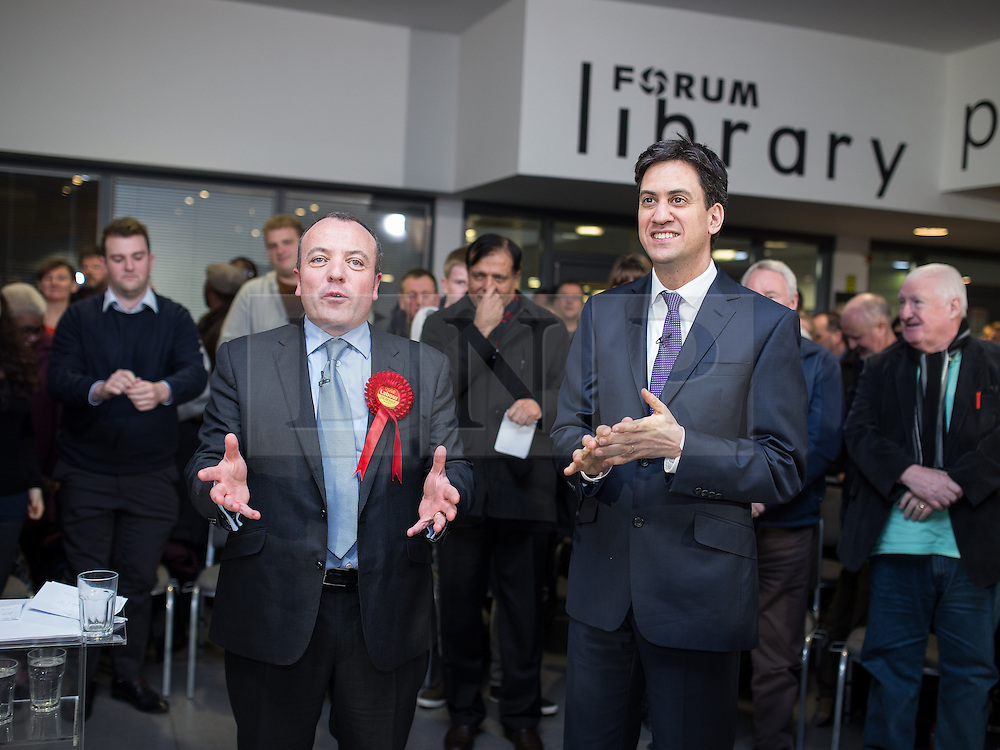 © Licensed to London News Pictures . 31/01/2014 . Manchester , UK . Leader of the Labour Party , Ed Miliband (r) and Mike Kane (l) after Ed Miliband delivered a speech and Q&A at Wythenshawe Forum this afternoon (31st January 2014) as the party continues to campaign for Mike Kane in the upcoming Wythenshawe and Sale East by-election , following the death of Paul Goggins . Photo credit : Joel Goodman/LNP