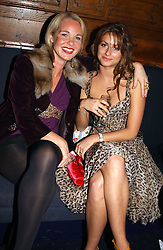 Left to right, AMANDA ELIASCH and MISS SASKIA BOXFORD at a party hosted by Tatler magazine to celebrate the publication of the 2004 Little Black Book held at Tramp, 38 Jermyn Street, London SW1 on 10th November 2004.<br />
