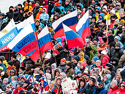 10.12.2017, Biathlonarena, Hochfilzen, AUT, IBU Weltcup Biathlon, Hochfilzen, Damen, Staffel, im Bild Russische Fans mit Fahnen und Transparenten - No Russia no Games // Russian fans with flags and banners - No Russia no Games during women's Relay of BMW IBU Biathlon World Cup at the Biathlonarena in Hochfilzen, Austria on 2017/12/10. EXPA Pictures © 2017, PhotoCredit: EXPA/ JFK