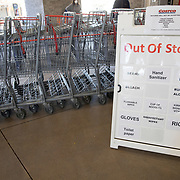Costco sign tell customers entering the warehouse what is currently unavailable.