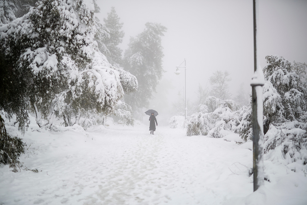 A woman holding an umbrella, walks in the snow through The Valley of the Cross in Jerusalem, Israel, on February 20, 2015. Over 20 centimeters of snow covered Jerusalem overnight, causing school and road closures, as a powerful winter storm descended on parts of the Middle East on Friday.