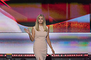 Ivanka Trump, daughter of GOP Presidential candidate Donald Trump walks onstage to address delegates on the final day of the Republican National Convention July 21, 2016 in Cleveland, Ohio.