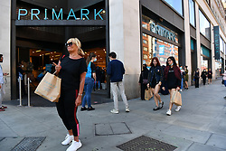 © Licensed to London News Pictures. 15/06/2020. London, UK. Shoppers queue outside Primark clothes store outside the Marble Arch Oxford St flagship store as it reopens following a relaxation of Covid-19 rules.  Non-essential shops can reopen  today following strict government regulations. London, Britain, Jun 15, 2020.  (Photo by Ray Tang/Xinhua).Photo credit: Ray Tang/LNP