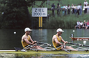 Lucerne, SWITZERLAND. AUS M2X, Stroke, Peter ANTONIE and Steve HAWKINS.  1992 FISA World Cup Regatta, Lucerne. Lake Rotsee.  [Mandatory Credit: Peter Spurrier: Intersport Images] 1992 Lucerne International Regatta and World Cup, Switzerland