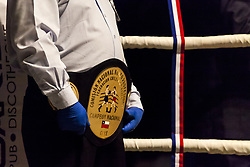 November 11, 2017 - Osorno, Chile - Osorno, Chile. 10 November 2017. The referee of the combat holds in his hands the Belt of the Chilean champion Robinson Laviñanza. The Chilean champion of the category Super Gallo Robinson ''Ray'' Laviñanza defeated Ramón ''Toro'' Contreras by KO and retained his national title after nine emotional rounds, where both touched the canvas at some point in Osorno, Chile. (Credit Image: © Fernando Lavoz/NurPhoto via ZUMA Press)