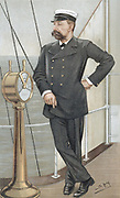 Albert I, Prince of  Monaco (1848-1922), amateur oceanographer.  Established Oceanographic Museum of Monaco and Oceanographic Institute in Paris. Cartoon by 'Spy' (Leslie Ward - 1851-1922) for 'Vanity Fair' London June 1900 showing him on deck of his yacht.