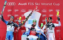 06.01.2013, Crveni Spust, Zagreb, CRO, FIS Ski Alpin Weltcup, Slalom, Herren, Podium, im Bild v.l.n.r. Andre Myhrer (SWE, Platz 2), Marcel Hirscher (AUT, Platz 1) und Mario Matt (AUT, platz 3) // f.l.t.r. 2nd place Andre Myhrer of Sweden, 1st place Marcel Hirscher of Austria and 3th place Mario Matt of Austria celebrate on podium of the mens Slalom of the FIS ski alpine world cup at Crveni Spust course in Zagreb, Croatia on 2013/01/06. EXPA Pictures © 2013, PhotoCredit: EXPA/ Pixsell/ Michal Glebov..***** ATTENTION - for AUT, SLO, SUI, ITA, FRA only *****