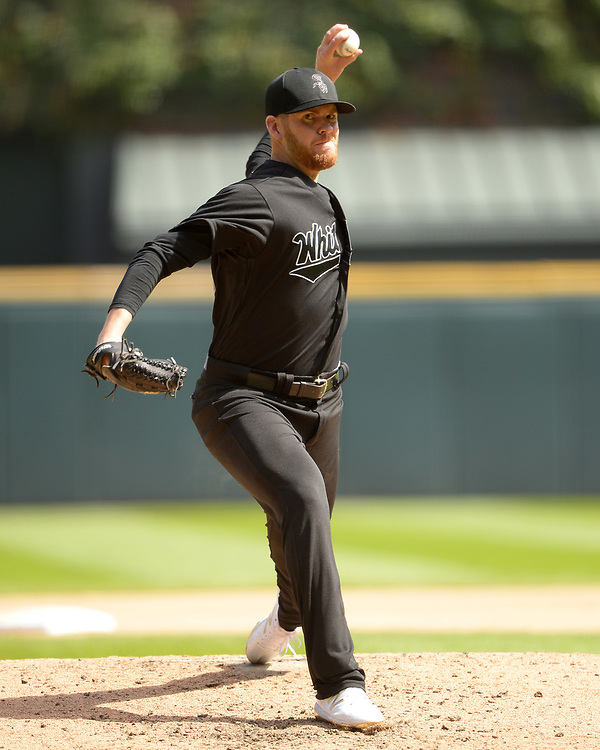 CHICAGO - AUGUST 25:  Aaron Bummer #39 of the Chicago White Sox pitches against the Texas Rangers during Players Weekend on August  25, 2019 at Guaranteed Rate Field in Chicago, Illinois.  (Photo by Ron Vesely)  Subject:   Aaron Bummer