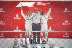 July 22, 2018 - Hockenheim, Germany - Motorsports: FIA Formula One World Championship 2018, Grand Prix of Germany, .#77 Valtteri Bottas (FIN, Mercedes AMG Petronas Motorsport), Dr. Dieter Zetsche (Chairman of the Board of Management of Daimler AG, Head of Mercedes-Benz Cars), #44 Lewis Hamilton (GBR, Mercedes AMG Petronas Motorsport) (Credit Image: © Hoch Zwei via ZUMA Wire)