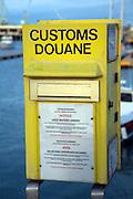 Yellow Customs Doune box, St Peter Port, Guernsey, Channel Islands, UK