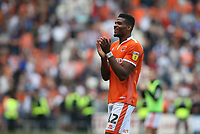 Blackpool's Michael Nottingham shows his delight at his teams 2-1 victory after the final whistle<br /> <br /> Photographer Stephen White/CameraSport<br /> <br /> The EFL Sky Bet League One - Blackpool v Fleetwood Town - Monday 22nd April 2019 - Bloomfield Road - Blackpool<br /> <br /> World Copyright © 2019 CameraSport. All rights reserved. 43 Linden Ave. Countesthorpe. Leicester. England. LE8 5PG - Tel: +44 (0) 116 277 4147 - admin@camerasport.com - www.camerasport.com<br /> <br /> Photographer Stephen White/CameraSport<br /> <br /> The EFL Sky Bet Championship - Preston North End v Ipswich Town - Friday 19th April 2019 - Deepdale Stadium - Preston<br /> <br /> World Copyright © 2019 CameraSport. All rights reserved. 43 Linden Ave. Countesthorpe. Leicester. England. LE8 5PG - Tel: +44 (0) 116 277 4147 - admin@camerasport.com - www.camerasport.com