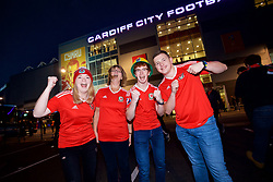 CARDIFF, WALES - Monday, October 9, 2017: Wales supporters outside the stadium before the 2018 FIFA World Cup Qualifying Group D match between Wales and Republic of Ireland at the Cardiff City Stadium. (Pic by Paul Greenwood/Propaganda)