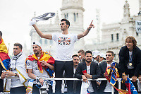 Arbeloa, Isco and Luka Modric during the celebration of the victory of the Real Madrid Champions League at Plaza de Cibeles in Madrid. May 28. 2016. (ALTERPHOTOS/Borja B.Hojas)