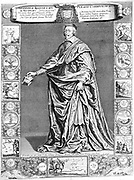 Armand Jean Duplessis, Duc de Richelieu (1585-1642) French prelate and statesman: Cardinal 1624: Minister of state to Louis XIII and de facto ruler of France from 1629.  Engraving based on Philippe de Champaigne portrait and surrounded by his achievements including crushing of Huguenots at La Rochelle 1628.  17th century engraving.