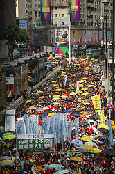 April 28, 2019 - Hong Kong, China - People marching during a protest against a new extradition law proposed by the Chinese government, which would allow the transfer of fugitives to China.  (Credit Image: © Vernon Yuen/NurPhoto via ZUMA Press)