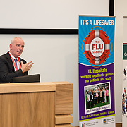 04.10. 2017.                   <br /> HEALTHCARE staff across the MidWest are taking part in a major vaccination programme to protect patients from flu this winter.<br />  <br /> UL Hospitals Group and HSE Mid West Community Healthcare this Wednesday joined forces to launch a flu campaign aimed at vaccinating thousands of healthcare workers in community, primary, mental health and acute hospital settings across Limerick, Clare and Tipperary. A national target of 40% uptake rate has been set by the HSE.<br /> <br /> Pictured at the launch was Bernard Gloster, Chief Officer Mid West Community Health Care.<br />  <br /> The HSE will next Monday, October 9th, launch its national flu campaign, with at-risk groups – including the over-65s; people with long-term chronic illnesses; pregnant women and residents of nursing homes and other longstay facilities – encouraged to get the vaccine from their family doctor or pharmacist. Picture: Alan Place