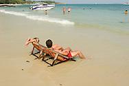Tourists sunbathing on Kho Samet